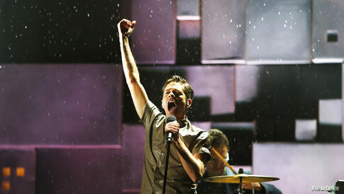 Nate Ruess, lead singer of Fun, performs at the 55th annual Grammy Awards in Los Angeles, California, Feb. 10, 2013.
