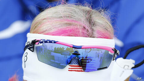 Kikkan Randall of the U.S. reacts after failing to get through to the next stage of competition, during the women's cross-country sprint free quarterfinal at the 2014 Sochi Winter Olympics, Feb. 11, 2014.