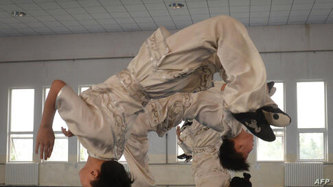 Students from the Huo Yuanjia Martial Arts School perform for visitors during a Wushu training session at their campus in Tianjin, China.