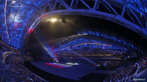 A general view shows a scene from the opening ceremony of the 2014 Sochi Winter Olympics, Feb. 7, 2014.