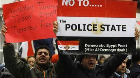 Demonstrators protest outside the Egyptian embassy in London, Saturday, Jan. 29, 2011. After years of simmering discontent in Egypt, where protests are generally limited, Egyptians were emboldened to take to the streets by the uprising in Tunisia - anothe