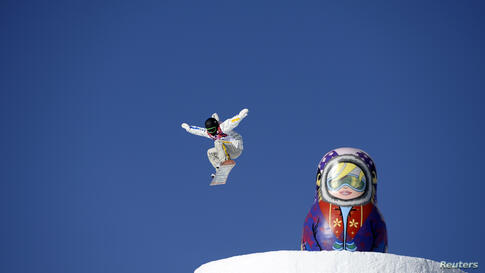Snowboarder Sven Thorgren of Sweden trains on the slopestyle snowboard course during practice for the 2014 Sochi Winter Olympics in Rosa Khutor, Russia.