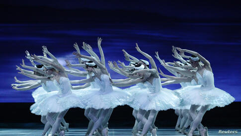 Dancers of the State Opera Ballet perform during a dress rehearsal of Pyotr Ilyich Tchaikovsky's Swan Lake at the State Opera in Vienna, Austria.