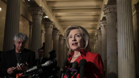 Secretary of State Hillary Clinton speaks with reporters about Egypt and protests in Iran following her meeting with Speaker of the House John Boehner, on Capitol Hill in Washington, Monday, Feb. 14, 2011. (AP Photo/J. Scott Applewhite)