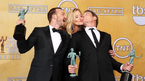 """From left, Aaron Paul, Anna Gunn and Bryan Cranston pose in the press room with their awards for outstanding performance by an ensemble in a drama series for """"Breaking Bad"""" at the 20th annual Screen Actors Guild Awards at the Shrine Auditorium, Los Ang..."""