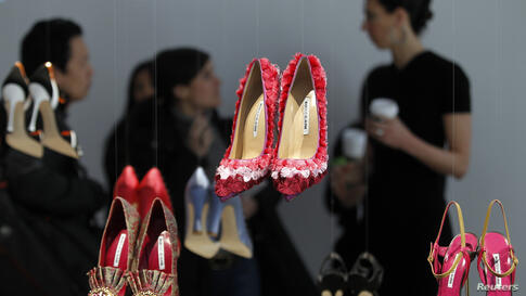 Shoes designed by Manolo Blahnik are displayed during the Fall 2014 collection at New York Fashion Week.