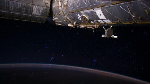 "This image captured by Expedition 40 Flight Engineer Reid Wiseman from the International Space Station shows Earth and the stars. Among the ""stellar"" scene is part of the constellation Orion, near the center of the frame."