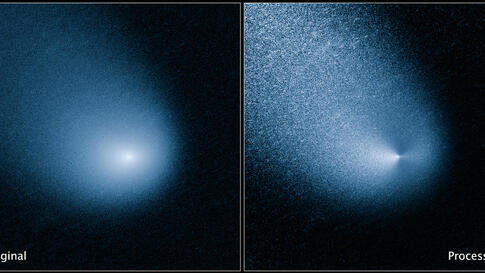 The images - before and after filtering - comet C/2013 A1, also known as Siding Spring, at a distance of 353 million miles from Earth as captured by Wide Field Camera 3 on NASA's Hubble Space Telescope. Image Credit: NASA, ESA, and J.-Y. Li (Planetary ...