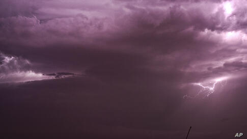 Lightning strikes during a thunderstorm in Beheira, 180 kilometers (112 miles) north of Cairo, Egypt.