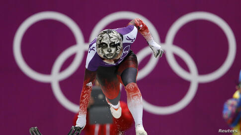 Canada's Sarah Reid starts in a women's skeleton training session during the 2014 Sochi Winter Olympic Games at the Sanki Sliding Center in Rosa Khutor in Russia.