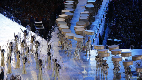 Performers are seen during the Rio 2016 segment of the closing ceremony of the London 2012 Olympic Games at the Olympic Stadium August 12, 2012.