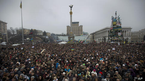 People gather during a rally in Independence Square, Kyiv, Ukraine, March 2, 2014.