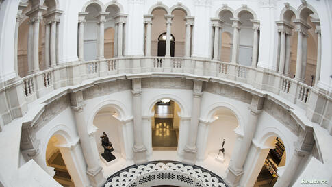 The circular balcony, closed since the 1920s, and a new spiral staircase, are seen at Tate Britain in central London.