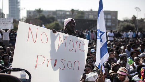 African migrants take part in a protest at Rabin Square in Tel Aviv, Jan. 5, 2014.