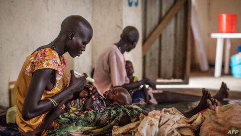 Malnourished children receive treatment at the Leer Hospital, South Sudan. Hundreds of thousands of people were cut off from critical, lifesaving medical care after the Leer Hospital, run by Medecins Sans Frontieres (Doctors Without Borders), was ransa...