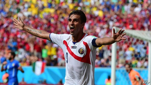 Costa Rica's forward Bryan Ruiz celebrates after scoring his team's first goal during a Group D match between Italy and Costa Rica at the Pernambuco Arena in Recife during the 2014 FIFA World Cup in Brazil.