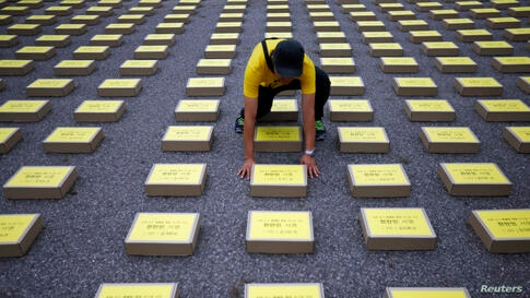 A man arranges a box containing signatures of South Koreans petitioning for the enactment of a special law after the mid-April Sewol ferry disaster, at Yeouido Park in Seoul. The petition is demanding the government for an impartial investigation into ...