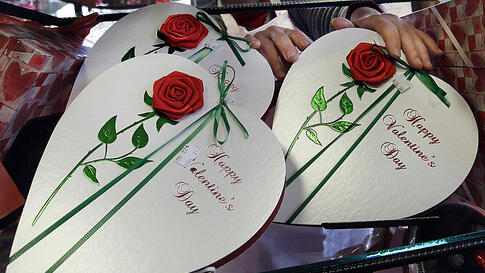 Boxes of chocolates are displayed for Valentine's Day in North Andover, Massachusetts, Feb. 13, 2012. (AP)