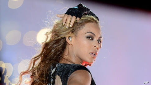 Recording artist Beyonce performs in the Super Bowl XLVII Half Time show in New Orleans.