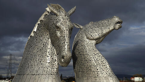 The Kelpies, two 30-meter high stainless-plate horse heads by sculptor Andy Scott are seen in Falkirk, Scotland, Nov. 27, 2013.