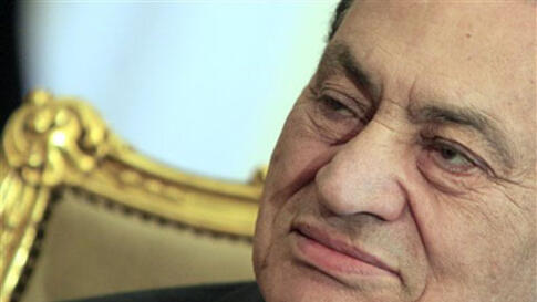 Egyptian President Hosni Mubarak sits during his meeting with Emirates foreign minister, not pictured, at the Presidential palace in Cairo, Egypt, February 08, 2011