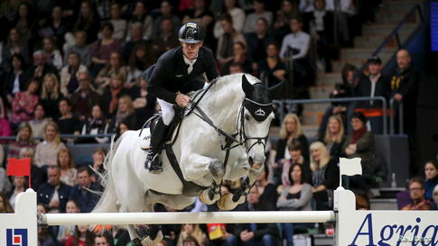 Marcus Ehning of Germany rides his horse Cornado during the Equestrian-FEI World Cup Jumping Final III, Gothenburg Horse Show at the Scandinavium Arena, Gothenburg, Sweden.