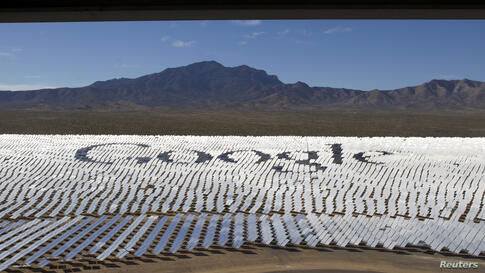 The Google logo is spelled out in heliostats (mirrors that track the sun and reflect the sunlight onto a central receiving point) during a tour of the Ivanpah Solar Electric Generating System in the Mojave Desert near the California-Nevada border, USA....