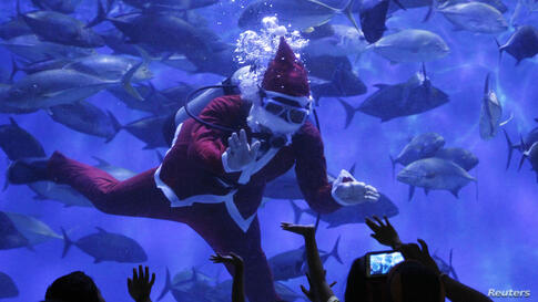 Visitors wave to a professional diver wearing a Santa Claus suit inside a giant aquarium as part of Christmas celebrations at the Manila Ocean Park, Philippines.