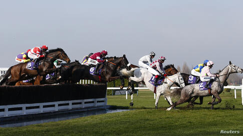 Horses and riders clear the water jump during the RSA Steeple Chase at the Cheltenham Festival horse racing meet in Gloucestershire, western England.