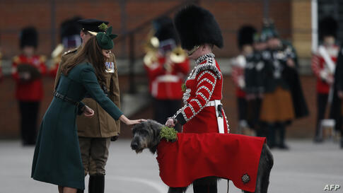 Britain's Catherine, Duchess of Cambridge (L) strokes the regimental mascot Irish Wolf Hound dog as she attends St Patrick's Day parade with the 1st Battalion Irish Guards in Mons Barracks in Aldershot.