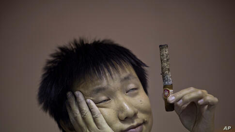 A participant in the competition for the longest ash is dizzied by the smoke of his cigar during the XVI Cuba Cigar festival, in Havana, Feb. 27, 2014.