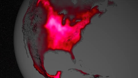 The magnitude of fluorescence portrayed in this visualization prompted researchers to take a closer look at the productivity of the U.S. Corn Belt. The glow represents fluorescence measured from land plants in early July, over a period from 2007 to 201...