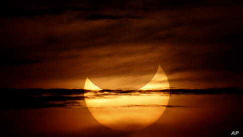 A partial annular solar eclipse is seen over Beijing, China, May 21, 2012.