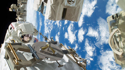 NASA astronaut Rick Mastracchio participates in the first Expedition 38 spacewalk designed to troubleshoot a faulty coolant pump on the International Space Station.