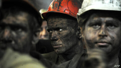 Coal miners leave the Zasyadko mine following their work shift in the eastern Ukrainian city of Donetsk. Donetsk is part of the Donbass coal mining region, which has been hit by separatists protests in recent weeks.