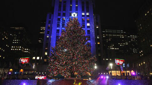 The Rockefeller Center Christmas tree stands lit during the 78th annual lighting ceremony Tuesday, Nov. 30, in New York. (Jason DeCrow/AP)