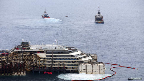 Cruise liner Costa Concordia is seen during a refloat operation at Giglio harbour at Giglio Island, Italy.