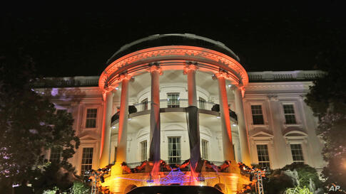 The South Portico of the White House in Washington, D.C. decorated for Halloween, Oct. 30, 2013.