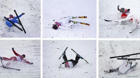 A combination picture shows (top row L-R) Belarus' Hanna Huskova, Australia's Laura Peel, China's Zhang Xin, (bottom row L-R) Russia's Alexandra Orlova, Ukraine's Anastasiya Novosad, Australia's Lydia Lassila crashing during the women's freestyle skiin...