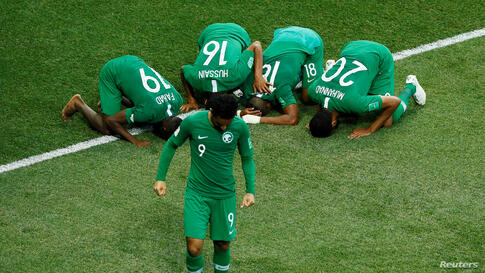 Soccer Football - World Cup - Group A - Saudi Arabia vs Egypt - Volgograd Arena, Volgograd, Russia - June 25, 2018   Saudi Arabia players celebrate after the match    REUTERS/Jason Cairnduff