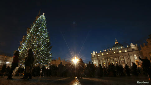 The Vatican Christmas tree is lit up after a ceremony in Saint Peter's Square at the Vatican.