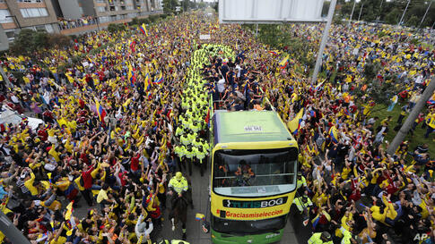 Members of Colombia's national soccer team are welcomed home from the World Cup, in Bogota, Colombia.