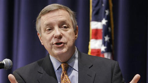 U.S. Sen. Dick Durbin, D-Ill., discusses the war in Iraq and America's image in the international community while in Springfield, Ill., Thursday, March 20, 2008. (AP Photo/Seth Perlman)