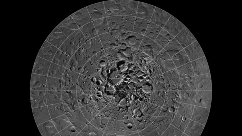 Scientists, using cameras aboard NASA's Lunar Reconnaissance Orbiter (LRO), have created the largest high resolution mosaic of our moon's north polar region. The six-and-a-half feet (two-meters)-per-pixel images cover an area equal to more than one-qua...