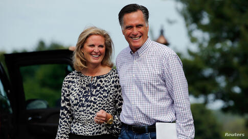Mitt Romney and his wife Ann leave Wolfeboro, New Hampshire August 27, 2012 after preparing their speeches for the RNC.