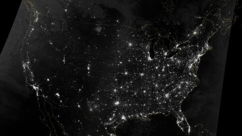 The Visible Infrared Imaging Radiometer Suite (VIIRS) on the Suomi NPP (National Polar-orbiting Partnership) satellite acquired two nighttime images for this natural-light, mosaic view of the continental United States. (NASA Earth Observatory image by ...