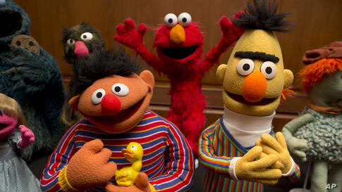 Muppets Bert and Ernie, as well as Elmo, center, are among a donation of additional Jim Henson objects to the Smithsonian's National Museum of American History in Washington.