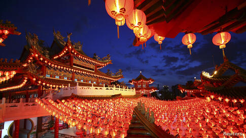 Lanterns are hung in a Chinese temple ahead of Chinese New Year celebrations in Kuala Lumpur, Malaysia.