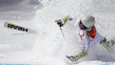 Andorra's Joan Verdu Sanchez crashes during the first run of the men's alpine skiing giant slalom event at the 2014 Sochi Winter Olympics at the Rosa Khutor Alpine Center in Russia.