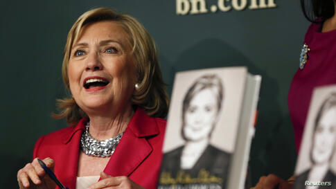 """Hillary Clinton speaks during a book signing of her new book """"Hard Choices"""" in New York."""